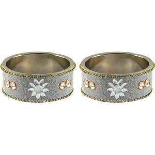 White Stone Stud Metal Bangle