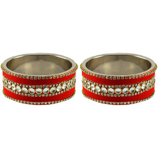 Red Stone Stud Metal Bangle