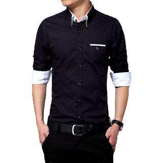 Gladiator Products Trendy Plain Shirt Black different collar and cuff