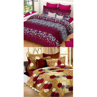 SHAKRIN 3D Polycotton 2 Double Bedsheet With 4 Pillow Covers, 90 x 90 Inch (Set OF 2 Double Bedsheets)