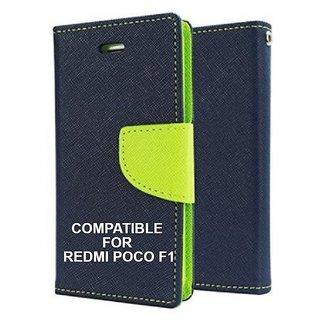 Mobimon Stylish Luxury Mercury Magnetic Lock Diary Wallet Style Flip Cover Case For Redmi POCO F1 - Blue