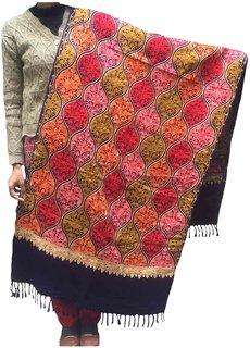 Varun Cloth House Women Woolen Kashmiri Embroidered Navy Stole  (vch4959, Free Size)