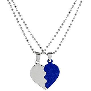 Styles Creation Men's Romantic Valentine Special Heart Shape Blue Love Pendant Necklace Chain Jewellery (ARTFLJWL10)