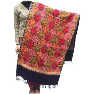 Varun Cloth House Women Woolen Kashmiri Embroidered Navy Stole  (vch4959, Free Size)