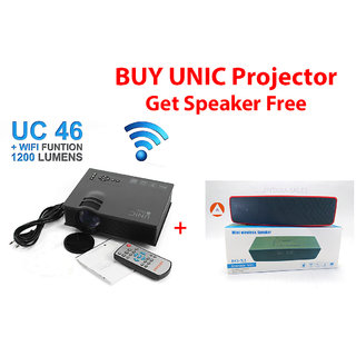 UNIC UC46 WIFI LED 1200 Lumens Home Cinema Portable Projector With Free Speaker