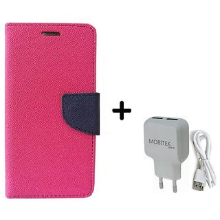 Wallet Flip Cover For Samsung Galaxy J2  / Samsung J2  - PINK With Fast Charger 2.4 AMP Safe Charger
