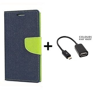 Wallet Flip Cover For Samsung Galaxy J2  / Samsung J2  - BLUE With Micro OTG Cable