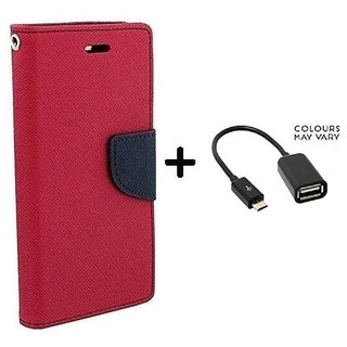 Wallet Flip Cover For Samsung Galaxy J2  / Samsung J2  - PINK With Micro OTG Cable