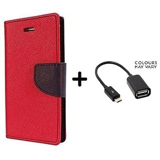 Wallet Flip Cover For Samsung Galaxy J2  / Samsung J2  - RED With Micro OTG Cable