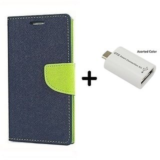 Wallet Flip Cover For Samsung Galaxy J2  / Samsung J2  - BLUE With Micro OTG SMART