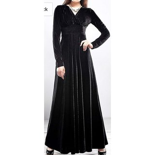 WC-064 Westchic BLACK VELVET V-NECK Long Dress