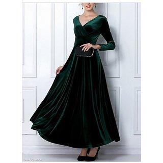 WC-066 Westchic GREEN VELVET V-NECK Long Dress