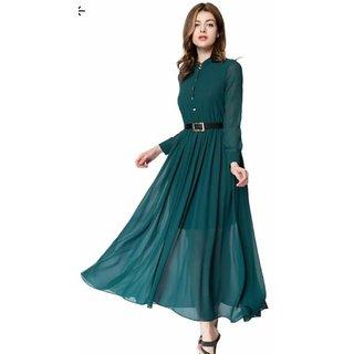 WC-070 Westchic GREEN BELT Long Dress
