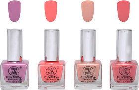 Lips  Tips Premium Collection Nail polish - Lilac Nude, Coral Pink, Nude Skin, Nude Pink ( Pack of 4 )
