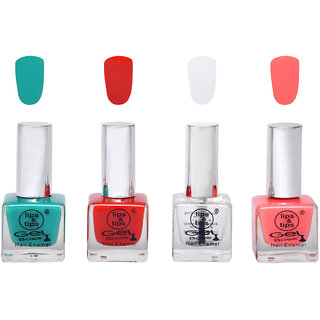 Lips  Tips Premium Collection Nail polish - Teal, Fire Red, Base Coat, Coral Pink ( Pack of 4 )