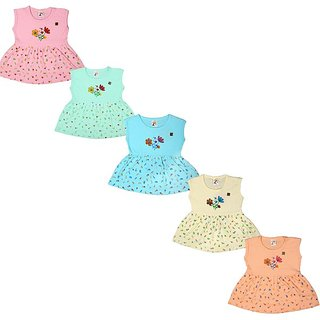 Kavin's New Born Dress Set for Baby Girls,Pack of 5, Multicolored-156