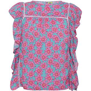 Punkster Blue & Pink Rayon Sleeveless Top For Girls
