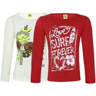 Punkster White & Red Full Sleeves Printed Tees For Girls