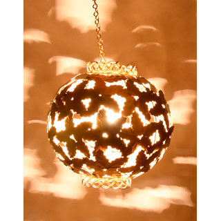 AH Hanging Lamp Moraccan Leaf Hanging Light Ceiling Light Pendent Lamp Gold Color (Suited for Home Decoration,Living Room,Balcony, etc) B22 Holder Set of 1 Pc