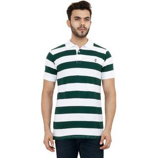 b8bef93b2 Buy Capybara Men s Cotton White and Dark Green Broad Stripes Half Sleeve  Polo T-Shirt