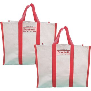 Canvas Shopping Bags for Market Milk, Grocery, Vegetable with Reinforced Handles - jhola - Kitchen Essential (17x8.5x14-inches)