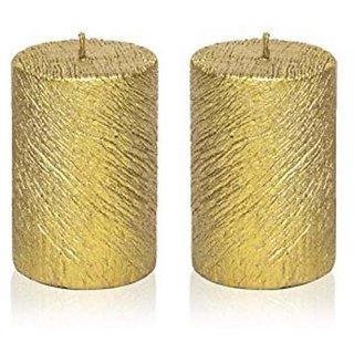 Neelam Designer Collection Wax Decorative Candles (10.5 cm x 8.5 cm x 5.5 cm, Golden, Set of 2
