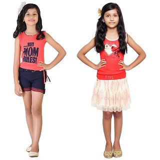 Qeboo Combo of 2 Different Style Casual/PartyWear Dress For Girls