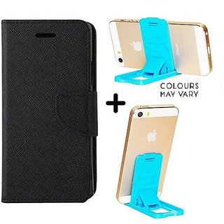 Samsung Galaxy S6 Edge   / Cover For Samsung S6 Edge   - BLACK With Mobile Stand