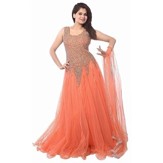 Florence Women's Orange Embroidered Semi Stitched Net Gown