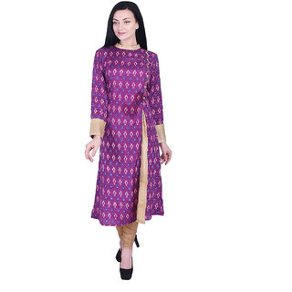 Nascency Shandon (Cotton) Printed Round Neck 3/4 Sleeve side slit Purple Casual and Party Wear Women Kurti