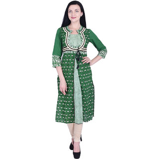 Nascency Cotton Printed Round Neck Half Sleeves Front slit Green Casual and Party Wear Women Kurti