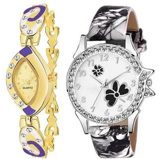 HRVBlack Butterfly and Purple Chain Women Watch