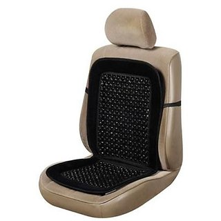 AutoSun - Car Wooden Bead Seat  Cushion with Beige Velvet Border