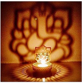 Heaven Decor Shadow Ganesh Tealight Candle Holder For Diwali