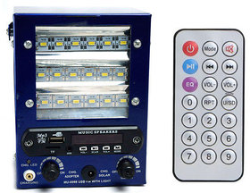 GAURAV MART Speaker with FM USB AUX SD Card With 18 SMD Led Light powerful battery chargeable Bass Rechargeable Battery
