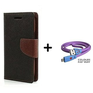 Micromax Bolt S302   / Cover For Micromax S302   - BROWN With Micro SMILEY USB CABLE