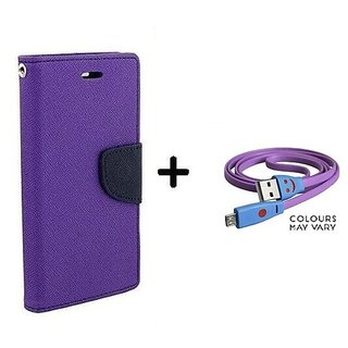 Micromax Canvas 2.2 A114  / Cover For Micromax A114  - PURPLE With Micro SMILEY USB CABLE