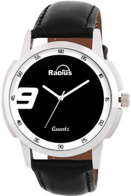 Radius By Smartshop16 White Round Dial Black Synthetic leather Strap watch For Men/Boy (R-48)