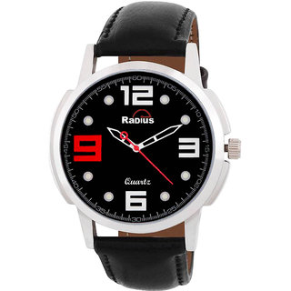 Radius By Smartshop16 White Round Dial Black Synthetic Leather Strap Watch For Men/Boy (R-45)