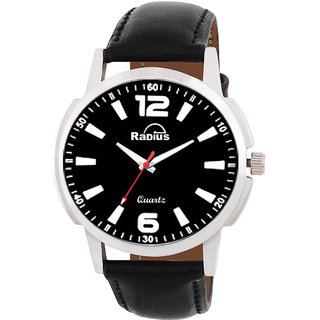 Radius By Smartshop16 Men Black Round Dial Black Synthetic leather Strap watch