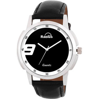 Radius by Smartshop16 Men Black Round Dial Synthetic Leather Strap Analog Watch