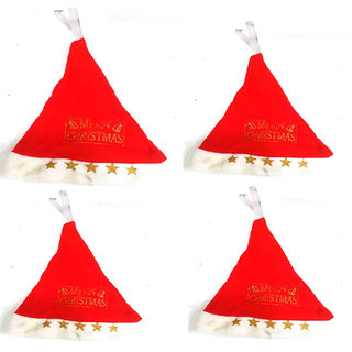 Solid Santa Cap Pack of 4 Cap  Pack of 4