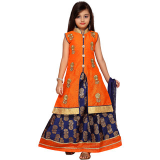 Kidling Kids Orange Coloured Party Wear Gown For Girls