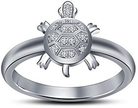 RM Jewellers 92.5 Sterling Pure Silver American Diamond Stylish Tortoise Ring