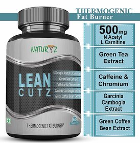 Naturyz LEAN CUTZ Thermogenic Fat Burner with 500mg Acetyl L Carnitine, Green tea Extract and other important Herbs