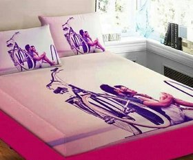 SHAKRIN Digital Print Velvet Febric Soft Touch Double Bedsheet With 2 Pillow Cover - 90 X 100 Inch