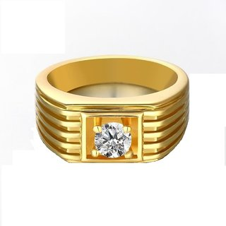 RM Jewellers 92.5 Sterling Silver American Diamond Stylish Solitaire Ring for Men