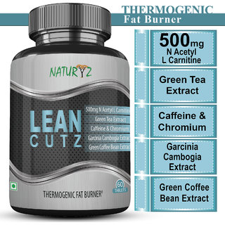 Naturyz LEAN CUTZ Thermogenic Fat Burner with 500mg Acetyl L Carnitine Green tea Extract and other important Herbs