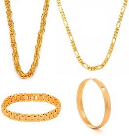 Combo For Men Gold Plated 2 Chains , Bracelet And Kada By Goldnera