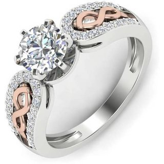 RM Jewellers 92.5 Sterling Silver American Diamond Amazing Glamorous Ring for Women